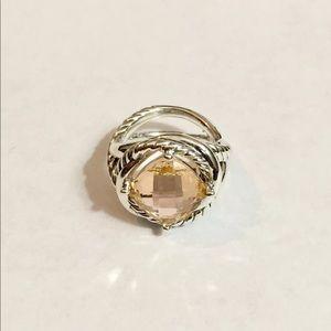 David Yurman 11x11mm Morganite Ring Sz 8